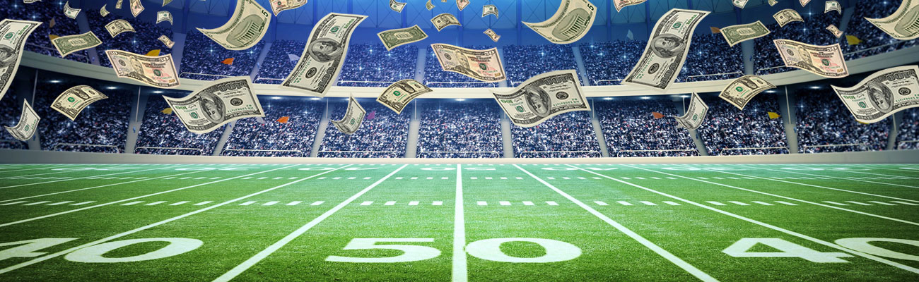 Football Field Raining Money